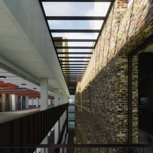 CGI view from balcony down to public reception – courtesy of AHMM