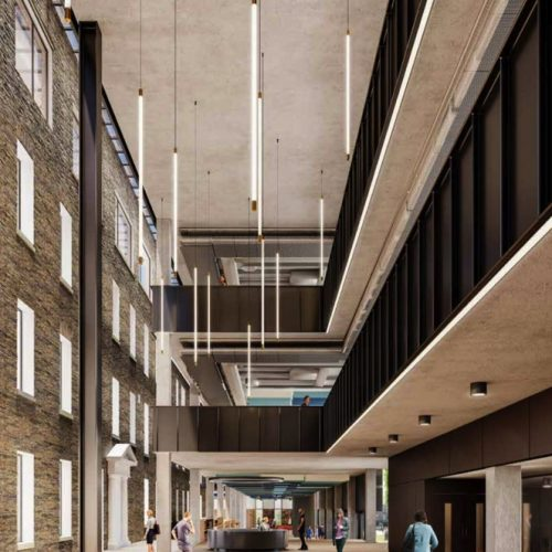 Interface between historic building and new build space – public reception and atrium – design CGI courtesy of AHMM